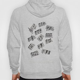 Black and White Musical Notes Design Hoody
