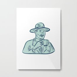 Man Fedora Hat Drinking Coffee Etching Metal Print