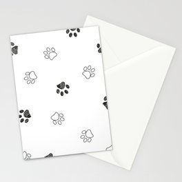 Black and white paw print pattern Stationery Cards