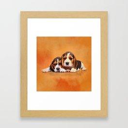 Cute Beagle puppies Framed Art Print