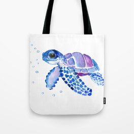 Blue Purple Sea Turtle, Turtle for nursery Tote Bag
