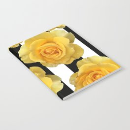 Yellow Roses on Black & White Stripes Notebook