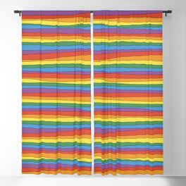 Horizontal Rainbow Stripes Blackout Curtain