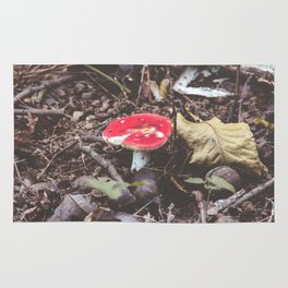 Red Woodland Mushroom Fungi Photography Rug