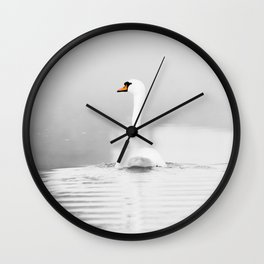 Swan in mist Wall Clock