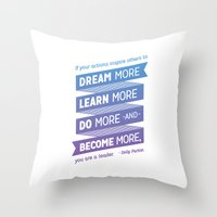 dolly parton Throw Pillows featuring Dream More - Dolly Parton Quote by brigette i design