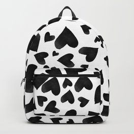 Modern black watercolor love hearts simple pattern Backpack