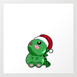 dino dinosaur santa christmas present gift rawr Santa Cartoon Son Daughter Art Print