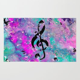 Artistic neon pink teal black watercolor classical music note Rug