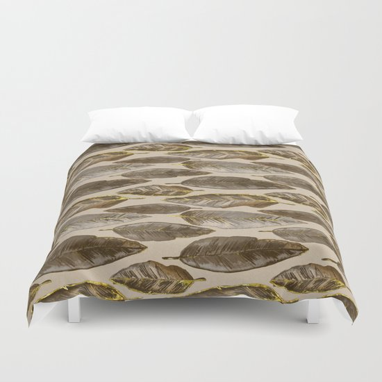 Gold Feather Pattern Duvet Cover