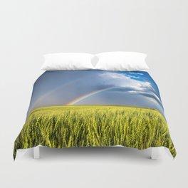 Daydream - Double Rainbow Above Kansas Wheat Field Duvet Cover