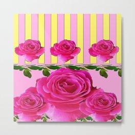 CERISE PINK SPRING  ROSE FLOWERS YELLOW STRIPES  PATTERN Metal Print