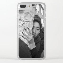 Flower Market Girl Clear iPhone Case