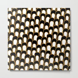 Abstract Loops in Gold, Black and White Metal Print