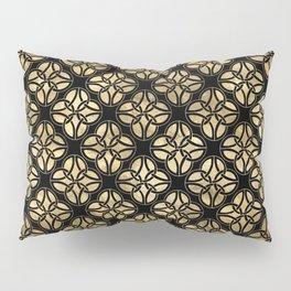 Elegant Black and Gold Irish Knot Circles Pattern Pillow Sham