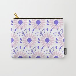 Pastel pink violet hand painted daisies floral pattern Carry-All Pouch