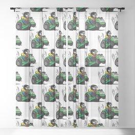 Cartoon racing riding lawnmower tractor popping a wheelie Sheer Curtain