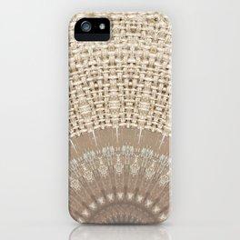 Unique Texture Taupe Burlap Mandala Design iPhone Case