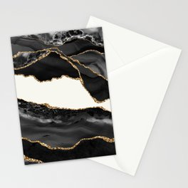 In the Mood Black and Gold Agate Stationery Cards