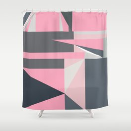 Modern hot pink gray abstract shapes pattern Shower Curtain