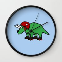 roller derby Wall Clocks featuring Roller Derby Triceratops by Jez Kemp