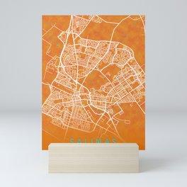 Salinas, CA, USA, Gold, Blue, City, Map Mini Art Print
