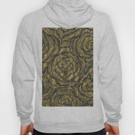 Intense Rose Print on Textured Canvas Hoody
