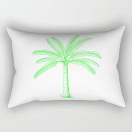 Palm Tree Sketch Green Rectangular Pillow