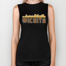 Vintage Style Wichita Kansas Skyline Biker Tank