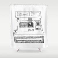 polaroid Shower Curtains featuring Polaroid by ChanelWhite