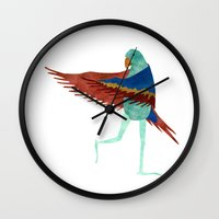parrot Wall Clocks featuring Parrot by Jade Young Illustrations
