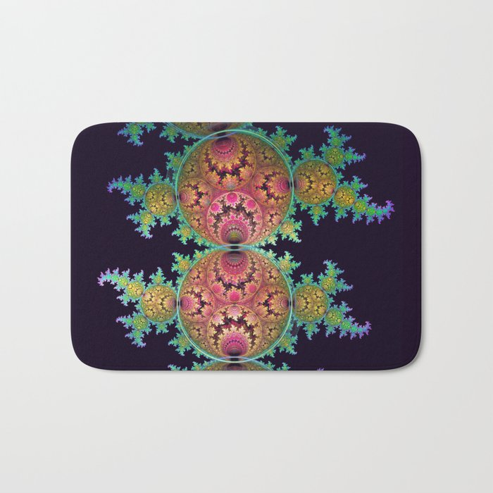 Amazing patterns in orbs and dragon spirals Bath Mat