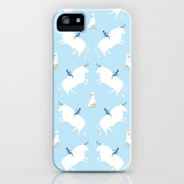 The Boy, the bull and the dog, blue iPhone Case