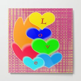 coloured love hearts Metal Print