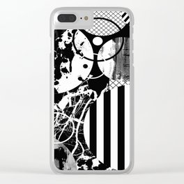 Black And White Choas - Mutli Patterned Multi Textured Abstract Clear iPhone Case