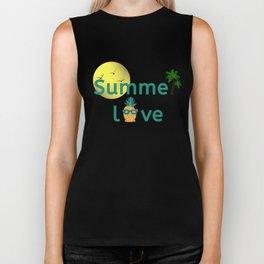 Summer Love Vibes Palms Pineapple Sun Biker Tank