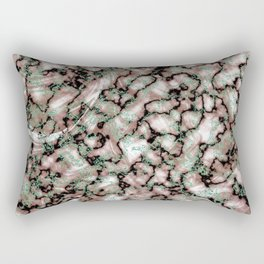 Beige Black & Mint Marble Texture Rectangular Pillow