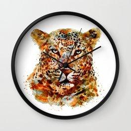 Leopard Head watercolor Wall Clock