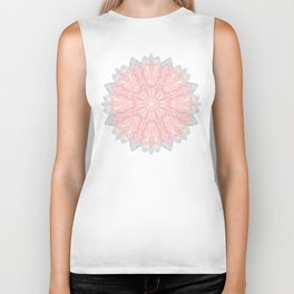 MANDALA IN GREY AND PINK Biker Tank