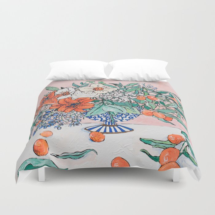 California Summer Bouquet - Oranges and Lily Blossoms in Blue and White Urn Duvet Cover