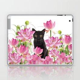 Black Cat Lotos Flower Gras Laptop & iPad Skin