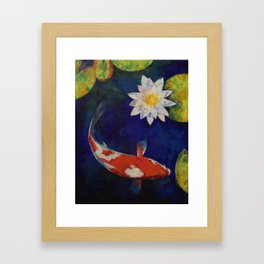 Kohaku Koi and Water Lily Framed Art Print