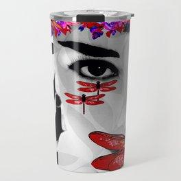DRAGONFLY WOMAN ELEGANT RED Travel Mug