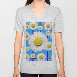 Modern Art Blue Shasta Flowers Pattern Unisex V-Neck