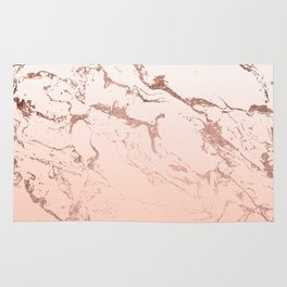 Pink blush white ombre gradient rose gold marble pattern Rug