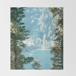 Lake Tahoe Through the Trees Throw Blanket
