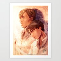 snk Art Prints featuring SNK Levia and Erwin by T.Wolv
