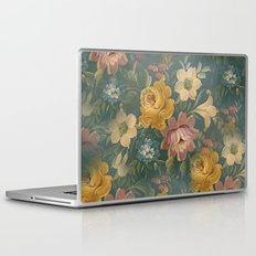 Vintage Painted Flowers on Teal Blue Green  Laptop & iPad Skin