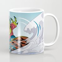 snowboarding Mugs featuring Snowboarding by Brain Drain Fox