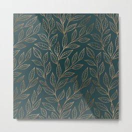Botanical Pattern - Bronze N7 Metal Print